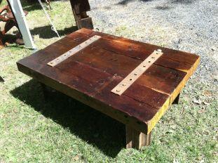 "Beam Coffee Table 001- Trinity beams and with original Trinity steel . 53"" x 35.75"" x 17.5h"