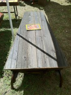 The Plow Coffee Table- Steel base barn wood top.