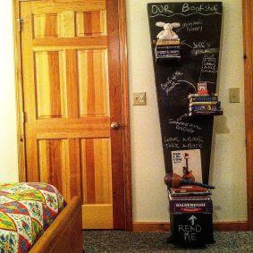 Leaning Chalkboard Bookcase
